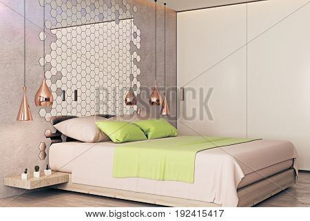 Side view of modern bedroom interior with furniture honeycomb patterned mirror and other creative items. 3D Rendering