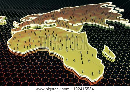 Abstract map with small people/businessmen figures on honeycomb/hexagon patterned background. Population concept. 3D Rendering