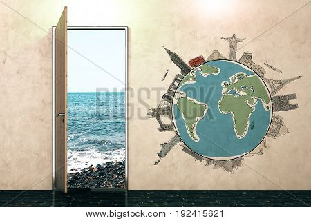 Open door with ocean view and globe sketch on concrete wall. Travel concept. 3D Rendering