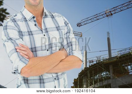 Digital composite of architect in construction