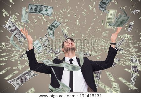 Digital composite of business models with falling money