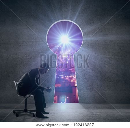 Side view of thoughtful young businessman sitting on chair in interior with keyhole opening revealing night city view. Success concept. 3D Rendering