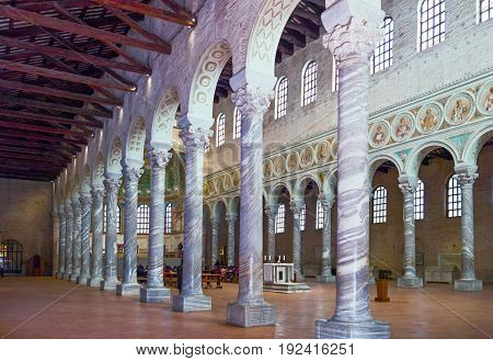 Ravenna Italy - March 1 2012: The aisle of S.Apollinare in Classe basilica