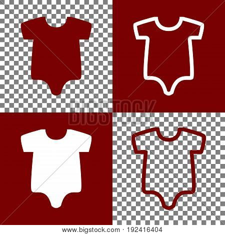 Baby cloth illustration. Vector. Bordo and white icons and line icons on chess board with transparent background.