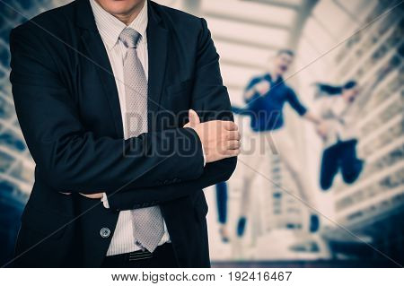 Male model in a suit posing on successful business