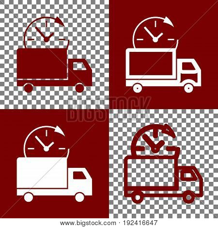 Delivery sign illustration. Vector. Bordo and white icons and line icons on chess board with transparent background.