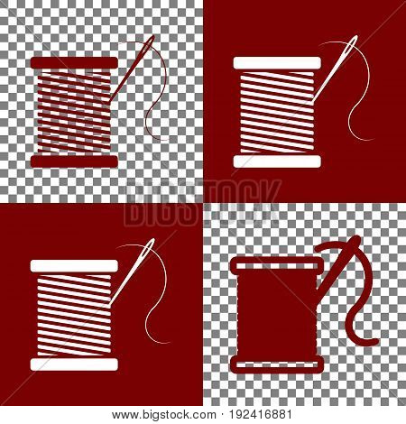 Thread with needle sign illustration. Vector. Bordo and white icons and line icons on chess board with transparent background.