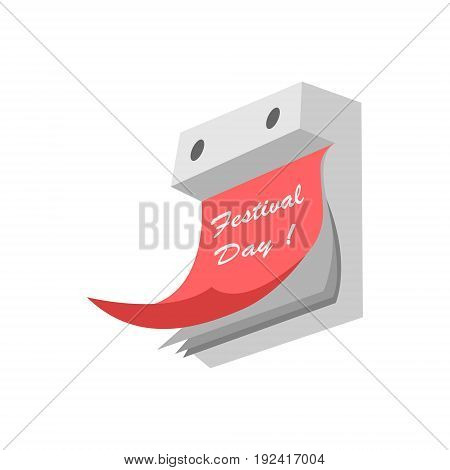 Vector illustration of a tear-off calendar on a white background painted in gray shades with a red leaf with an inscription a festive day