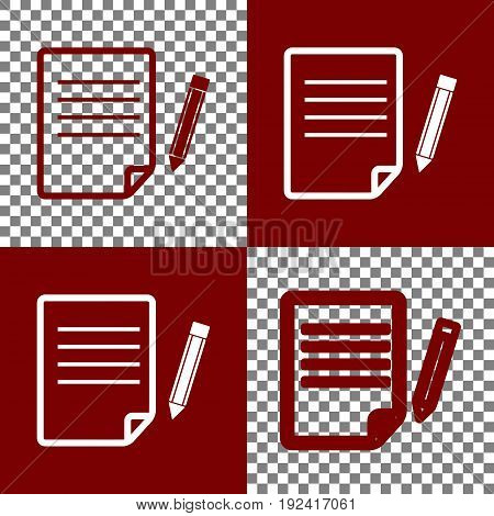 Paper and pencil sign. Vector. Bordo and white icons and line icons on chess board with transparent background.