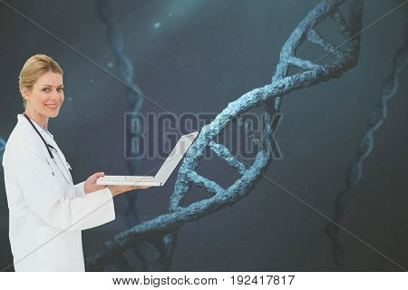 Digital composite of Doctor with DNA graphics on backgrounds