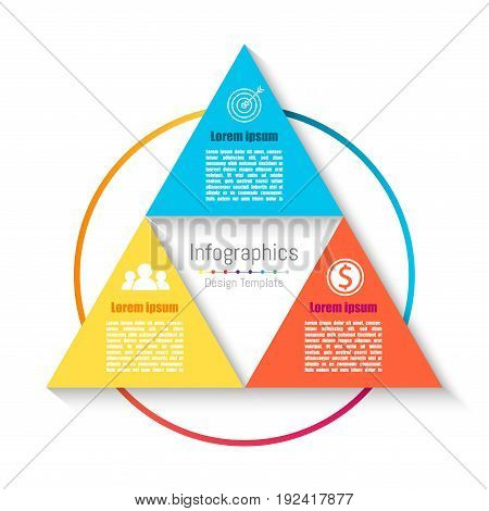 Vector triangle infographic template. Business concept with 3 options parts steps or processes.