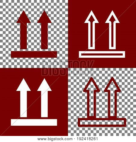 Logistic sign of arrows. Vector. Bordo and white icons and line icons on chess board with transparent background.