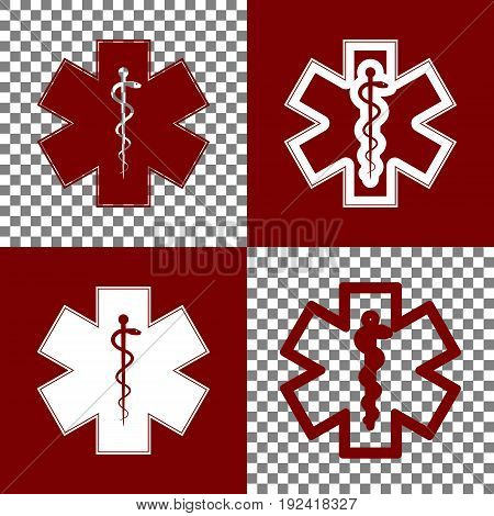 Medical symbol of the Emergency or Star of Life with border. Vector. Bordo and white icons and line icons on chess board with transparent background.