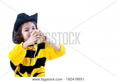 A cute little bee is drinking honey. Close-up. White background.