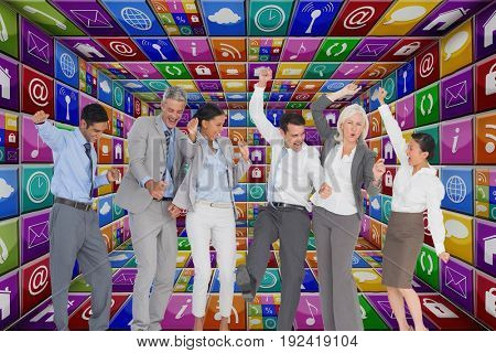 Digital composite of Business people dancing in apps room