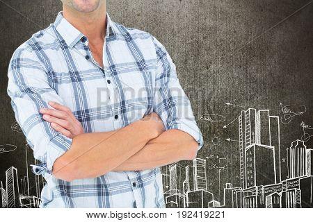 Digital composite of construction torso