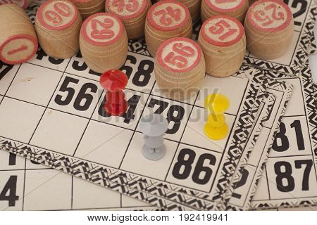 Cards and kegs for Russian lotto (bingo game) isolated on white background