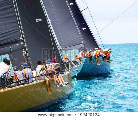 Sailing yachts regatta. Yachting. Sailing racing in samui island
