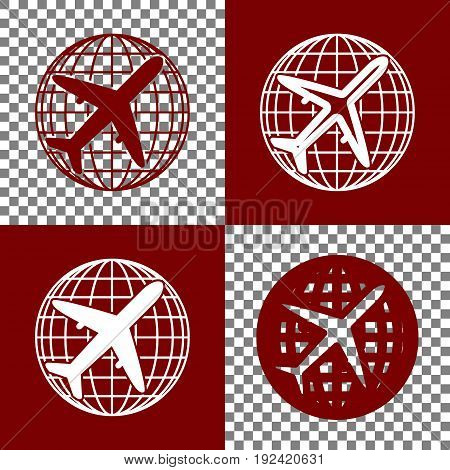 Globe and plane travel sign. Vector. Bordo and white icons and line icons on chess board with transparent background.