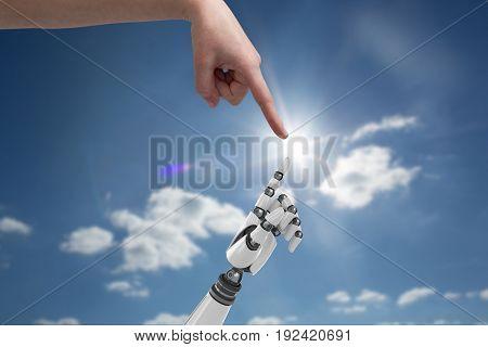 Digital composite of human and robot hand