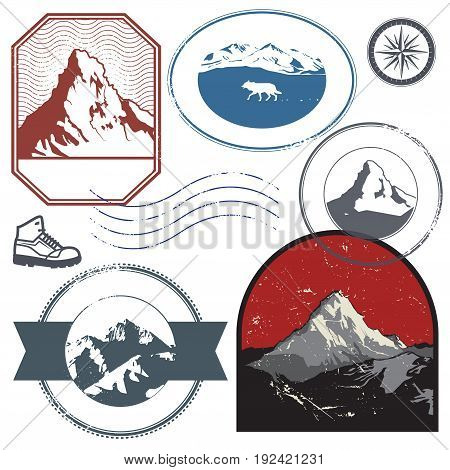 Retro post stamps or badges set with the mountains. Outdoor expedition mountain adventure signs or symbols vector illustration