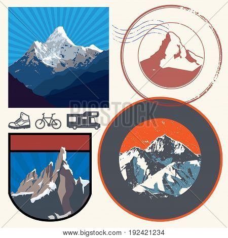 Retro post stamps or badges set with the mountains. Outdoor expedition mountain adventure signs emblems or symbols vector illustration