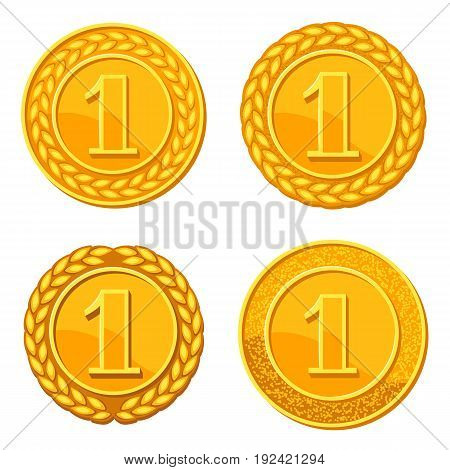 Set of realistic gold medals. Illustration of awards for sports or corporate competitions.