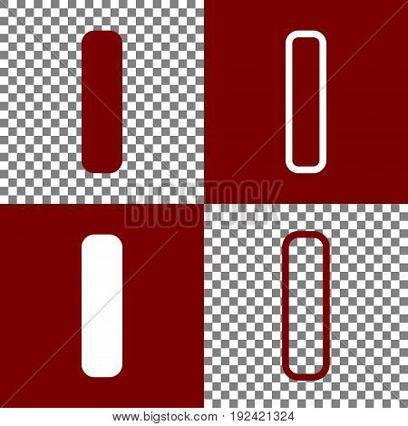 Letter I sign design template element. Vector. Bordo and white icons and line icons on chess board with transparent background.