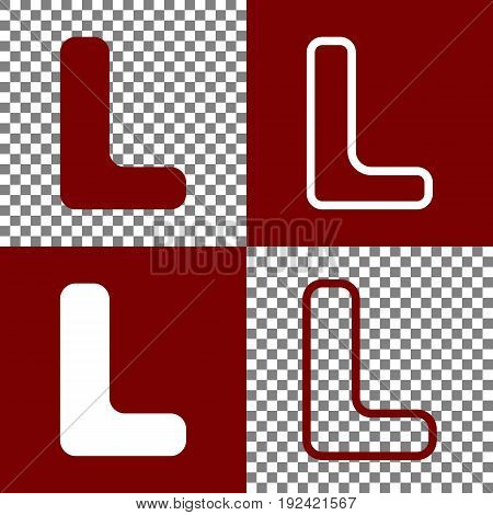 Letter L sign design template element. Vector. Bordo and white icons and line icons on chess board with transparent background.