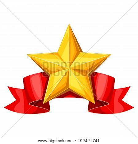 Realistic gold star on red ribbon. Illustration of award for sports or corporate competitions.