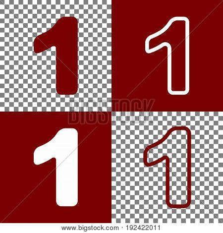 Number 1 sign design template element. Vector. Bordo and white icons and line icons on chess board with transparent background.