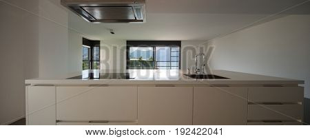 view of kitchen like a human being. Nobody inside