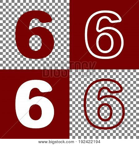 Number 6 sign design template element. Vector. Bordo and white icons and line icons on chess board with transparent background.