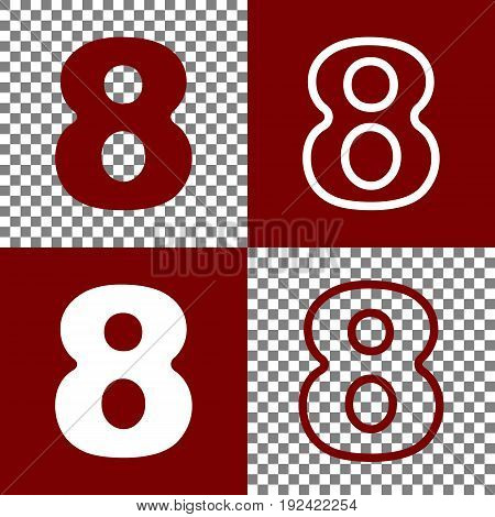 Number 8 sign design template element. Vector. Bordo and white icons and line icons on chess board with transparent background.
