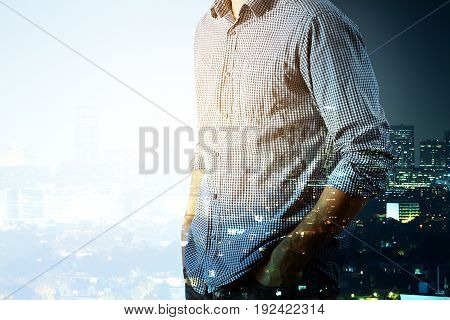 Side view of man on abstract day and night city background. Double exposure. Copy space