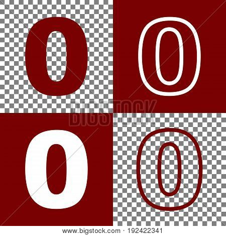 Number 0 sign design template element. Vector. Bordo and white icons and line icons on chess board with transparent background.