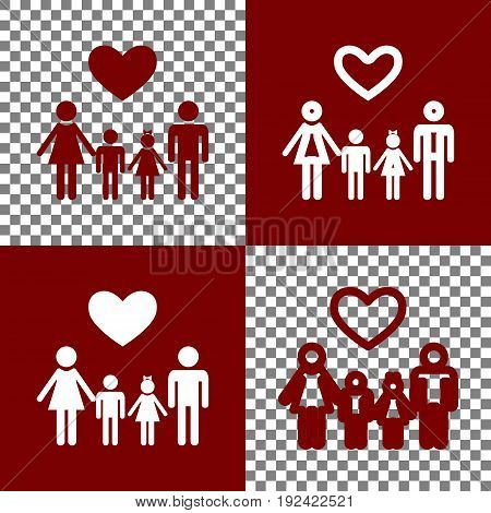 Family symbol with heart. Husband and wife are kept children's hands. Vector. Bordo and white icons and line icons on chess board with transparent background.
