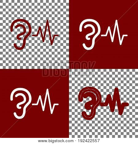 Ear hearing sound sign. Vector. Bordo and white icons and line icons on chess board with transparent background.