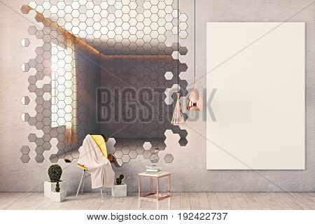 Front view of interior with honeycomb patterned mirror chair decorative plants whiteboard on wall and other items. Mock up 3D Rendering