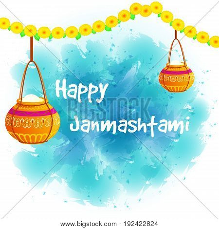 Vector illustration Happy Janmashtami. Indian fest. Pots on watercolor background.