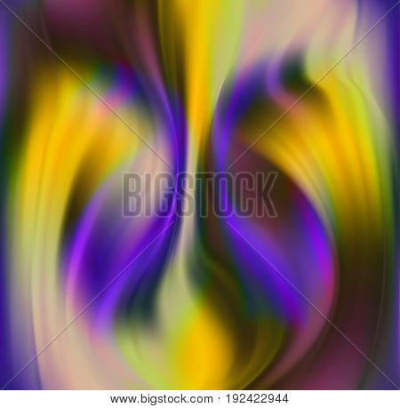 Abstract blurred wavy background resembling flames. Yellow, green and purple abstract rippling pattern of blurred shapes and gradients