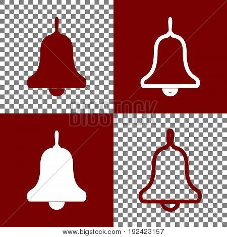 Bell Alarm, hand bell sign. Vector. Bordo and white icons and line icons on chess board with transparent background.