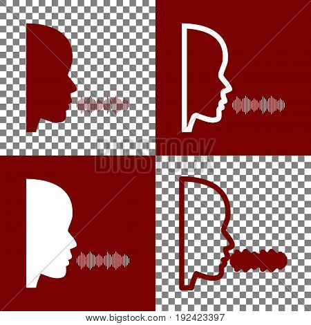 People speaking or singing sign. Vector. Bordo and white icons and line icons on chess board with transparent background.