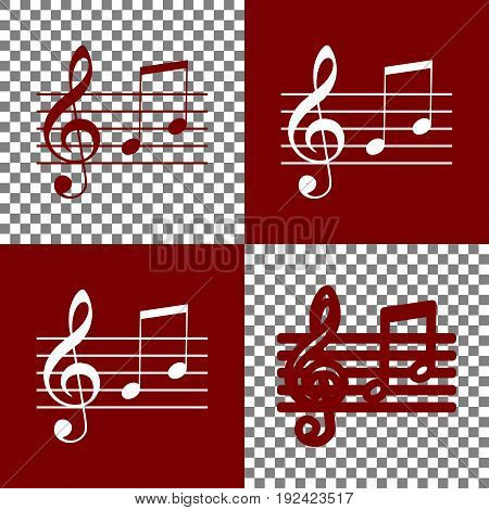 Music violin clef sign. G-clef and notes G, H. Vector. Bordo and white icons and line icons on chess board with transparent background.