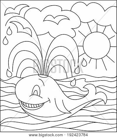 Black and white illustration of whale for coloring. Developing children skills for drawing. Vector image.