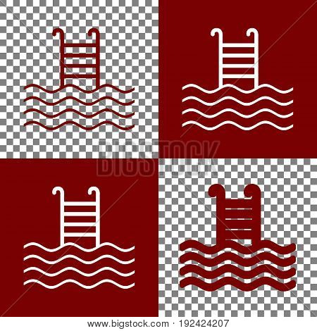 Swimming Pool sign. Vector. Bordo and white icons and line icons on chess board with transparent background.
