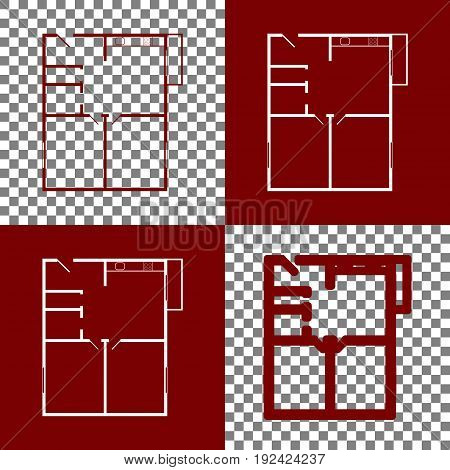 Apartment house floor plans. Vector. Bordo and white icons and line icons on chess board with transparent background.