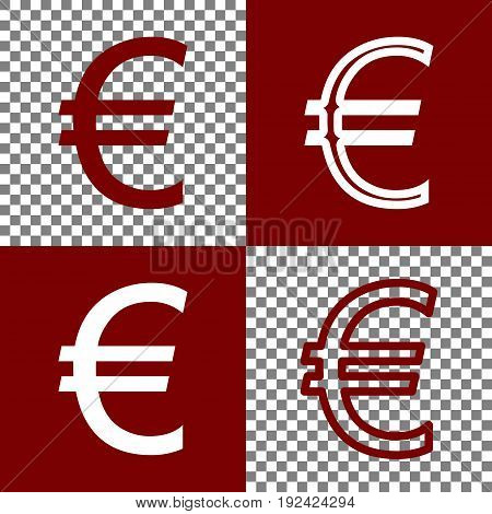 Euro sign. Vector. Bordo and white icons and line icons on chess board with transparent background.