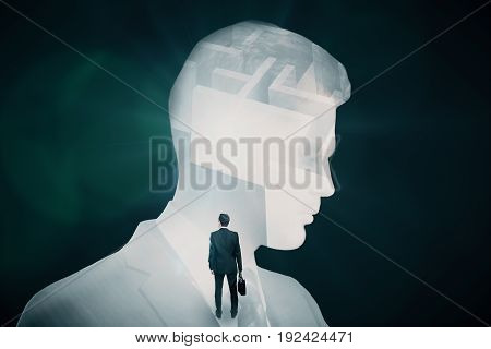 Abstract image of businessman and maze on dark background. Business challenge concept. Double exposure