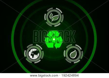 Abstract green eco background. Recycling concept. 3D Rendering